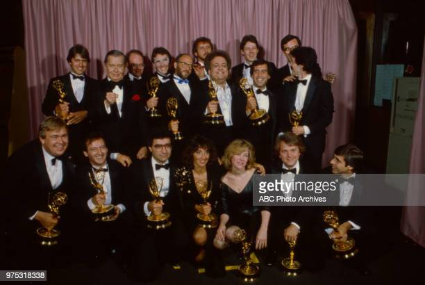 Milton Berle John Candy Joe Flaherty Eugene Levy Andrea Martin Catherine O'Hara Dave Thomas SCTV crew and cast appearing at the 34th Primetime Emmy...