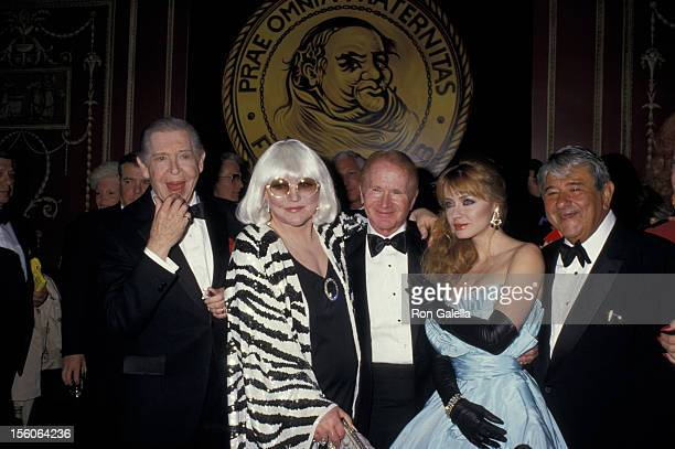 Milton Berle Peggy Lee Red Buttons Andrea Evans Buddy Hackett at the Red Buttons Friars Tribute 05/16/87 at The Waldorf Astoria Hotel New York City NY