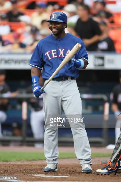 Milton Bradley of the Texas Rangers bats during the game against the New York Mets at Shea Stadium in Flushing New York on June 15 2008 The Rangers...
