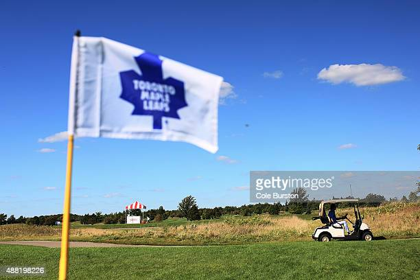 Milton Canada September 14 Former Toronto Maple Leaf Shayne Corson drives a golf cart on the course of the annual Leafs Legends Charity Golf Classic...
