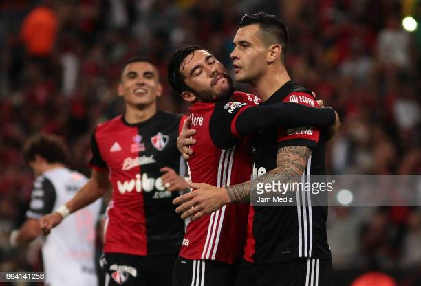 Milton Caraglio of Atlas celebrates after scoring the first goal of his team during the 14nd round match between Atlas and Tijuana as part of the...