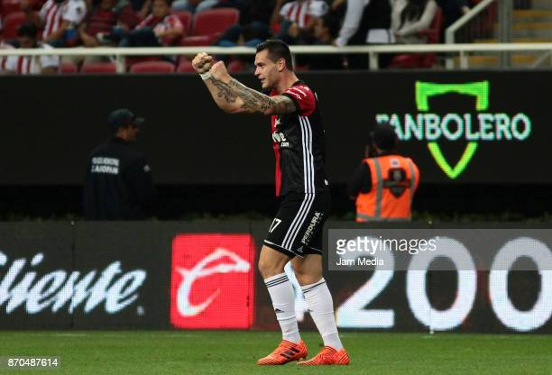 Milton Caraglio of Atlas celebrates after scoring the first goal of his team during the 17th round match between Chivas and Atlas as part of the...