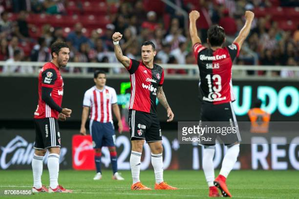 Milton Caraglio of Atlas celebrates after scoring the first goal of his team during the 16th round match between Chivas and Atlas as part of the...
