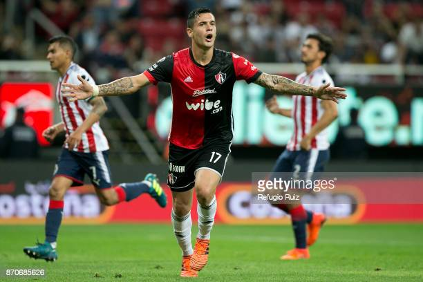 Milton Caraglio of Atlas celebrates after scoring the second goal of his team during the 16th round match between Chivas and Atlas as part of the...