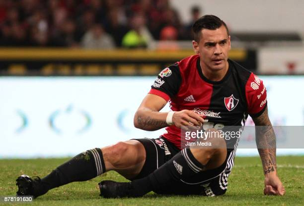 Milton Caraglio of Atlas gestures during the quarter finals first leg match between Atlas and Monterrey as part of the Torneo Apertura 2017 Liga MX...