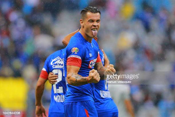 Milton Caraglio of Cruz Azul celebrates a scored goal during the 10th round match between Cruz Azul and Atlas as par of the Torneo Apertura 2018 Liga...
