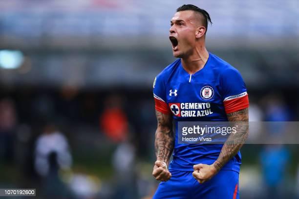 Milton Caraglio of Cruz Azul celebrates after scoring the first goal of his team during the semifinal second leg match between Cruz Azul and...