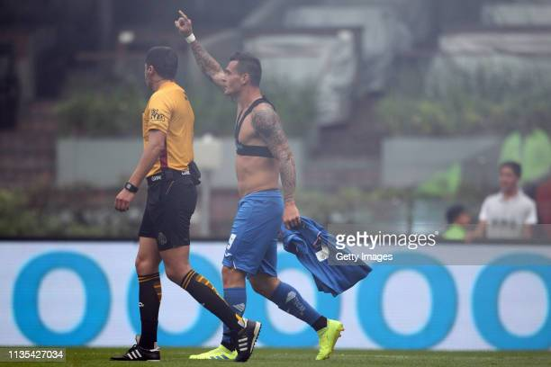 Milton Caraglio of Cruz azul celebrates after scoring the second goal of his team and the ten thousand goal that is scored at Azteca stadium during...