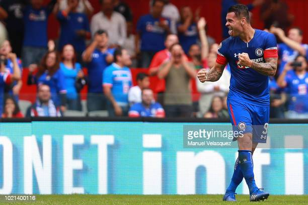Milton Caraglio of Cruz Azul celebrates after scoring the third goal of his team during the fifth round match between Cruz Azul and Leon as part of...