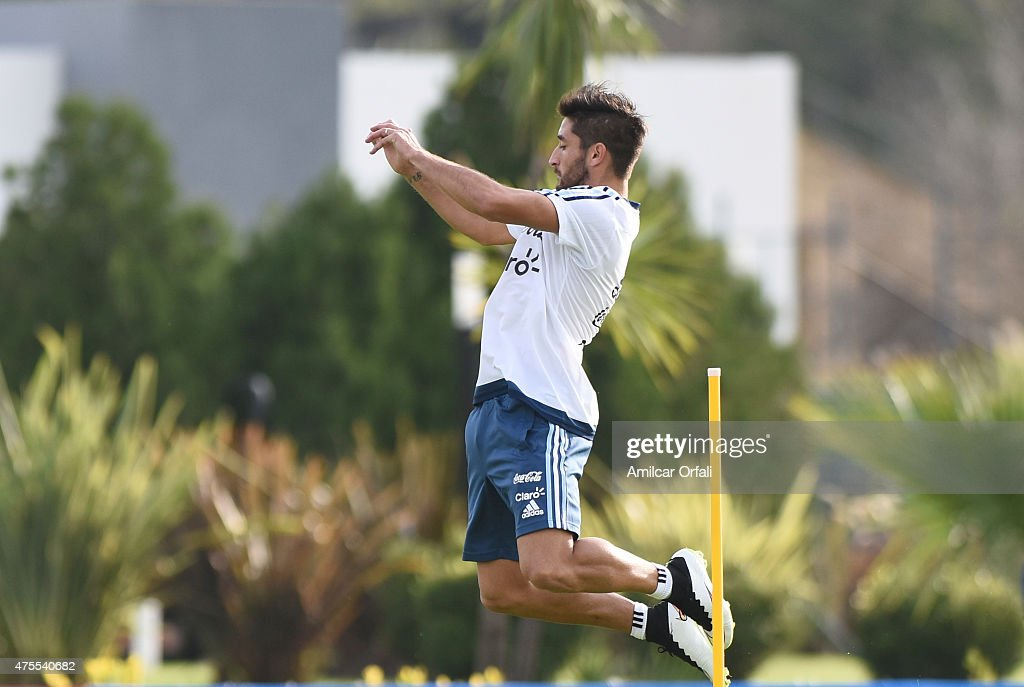Milton Casco of Argentina jumps during a training session at Argentine Football Association 'Julio Humberto Grondona' training camp on June 01, 2015 in Ezeiza, Argentina. Argentina will face its first match as part of Copa America Chile 2015 against Paraguay on June 13th, 2015.