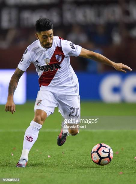 Milton Casco of River Plate drives the ball during a second leg match between Lanus and River Plate as part of the semifinals of Copa CONMEBOL...