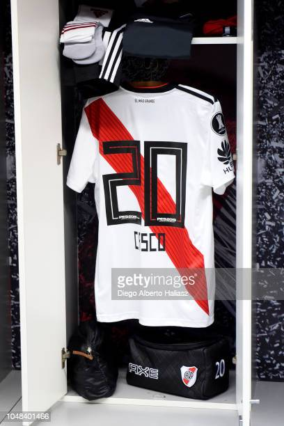 Milton Casco of River Plate jersey in the dressing room prior to a match between during a quarter final second leg match of Copa CONMEBOL...