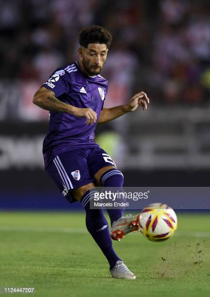 Milton Casco of River Plate kicks the ball during a match between River Plate and Union as part of Round 12 of Superliga 2018/19 at Estadio...