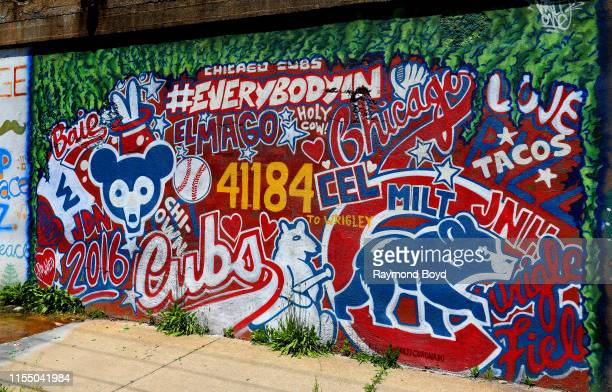 Milton Coronado's 'Chicago Cubs' mural is displayed in the Pilsen neighborhood in Chicago Illinois on June 7 2019 MANDATORY MENTION OF THE ARTIST...