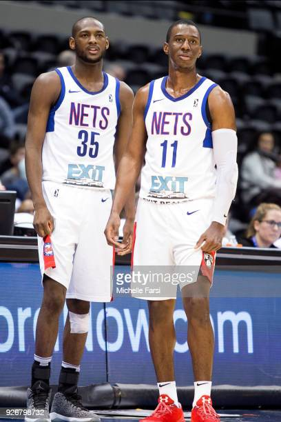 Milton Doyle and Shannon Scott of the Long Island Nets look on against the Windy City Bulls during an NBA GLeague game on March 2 2018 at NYCB Live...