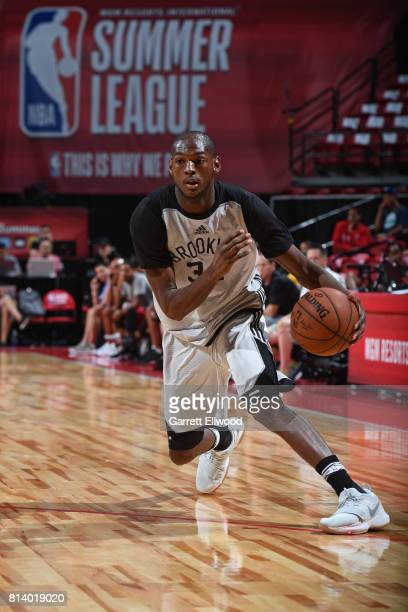 Milton Doyle of the Brooklyn Nets dribbles the ball against the Denver Nuggets during the 2017 Las Vegas Summer League game on July 13 2017 at the...