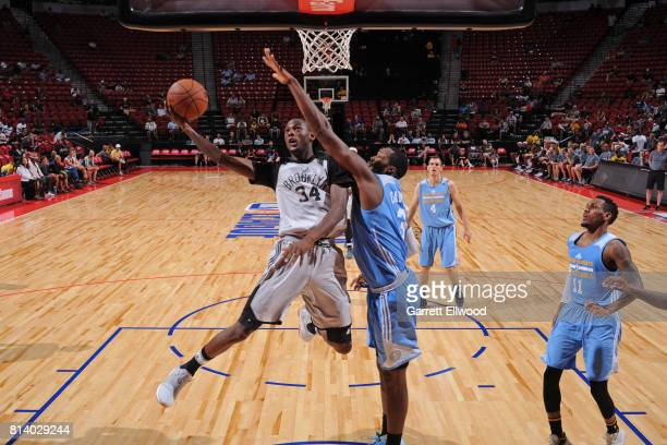 Milton Doyle of the Brooklyn Nets drives to the basket against the Denver Nuggets during the 2017 Las Vegas Summer League game on July 13 2017 at the...