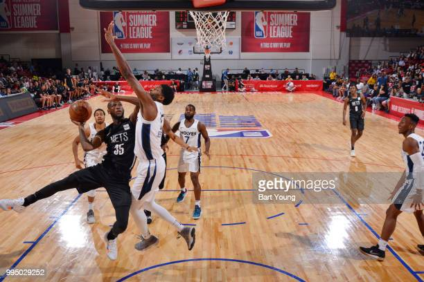 Milton Doyle of the Brooklyn Nets drives to the basket during the game against the Minnesota Timberwolves during the 2018 Las Vegas Summer League on...