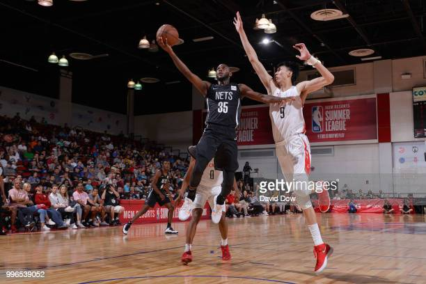 Milton Doyle of the Brooklyn Nets goes to the basket against the Houston Rockets during the 2018 Las Vegas Summer League on July 11 2018 at the Cox...