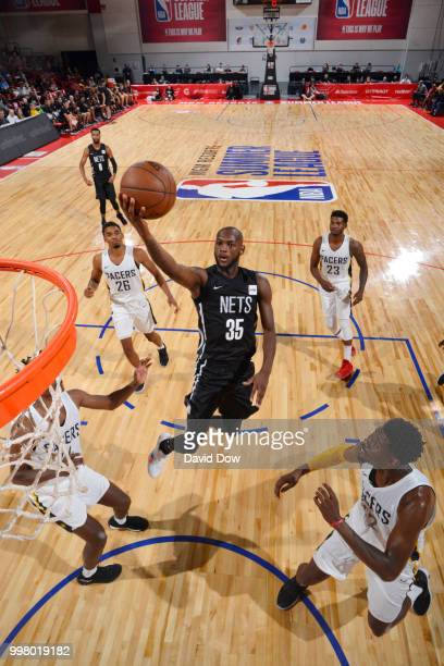 Milton Doyle of the Brooklyn Nets goes to the basket against the Indiana Pacers during the 2018 Las Vegas Summer League on July 13 2018 at the Cox...