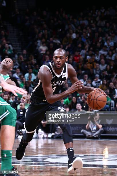 Milton Doyle of the Brooklyn Nets handles the ball against the Boston Celtics on January 6 2018 at Barclays Center in Brooklyn New York NOTE TO USER...