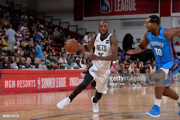 Milton Doyle of the Brooklyn Nets handles the ball against the Oklahoma City Thunder during the 2018 Las Vegas Summer League on July 7 2018 at the...