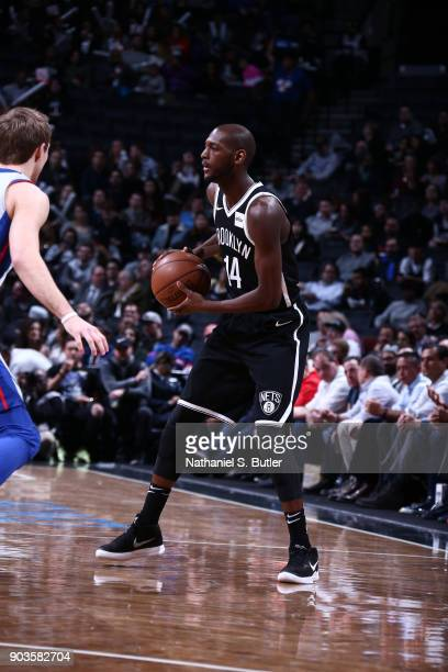 Milton Doyle of the Brooklyn Nets handles the ball against the Detroit Pistons on January 10 2018 at Barclays Center in Brooklyn New York NOTE TO...