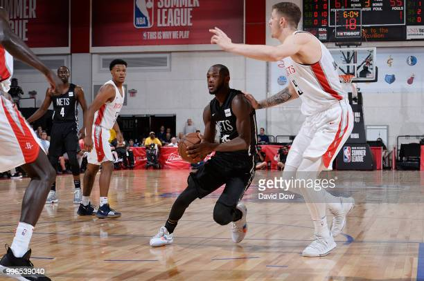 Milton Doyle of the Brooklyn Nets handles the ball against the Houston Rockets during the 2018 Las Vegas Summer League on July 11 2018 at the Cox...