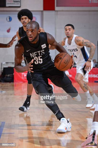 Milton Doyle of the Brooklyn Nets handles the ball against the Minnesota Timberwolves during the 2018 Las Vegas Summer League on July 9 2018 at the...