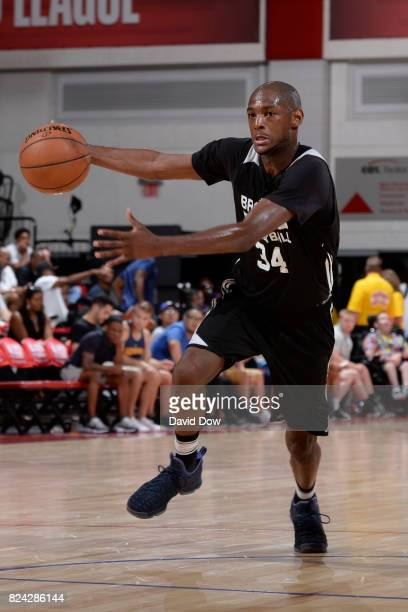 Milton Doyle of the Brooklyn Nets handles the ball during the game against the New Orleans Pelicans during the 2017 Las Vegas Summer League on July...