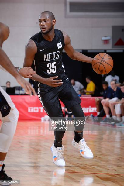Milton Doyle of the Brooklyn Nets handles the ball during the game against the Minnesota Timberwolves during the 2018 Las Vegas Summer League on July...