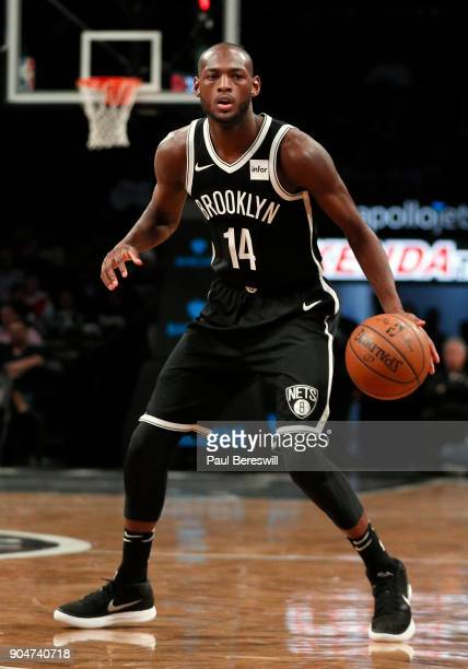 Milton Doyle of the Brooklyn Nets looks around in an NBA basketball game against the Detroit Pistons on January 10 2018 at Barclays Center in the...