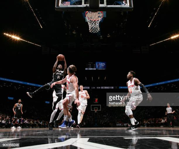 Milton Doyle of the Brooklyn Nets of the Brooklyn Nets goes to the basket against the New York Knicks on January 15 2018 at Barclays Center in...