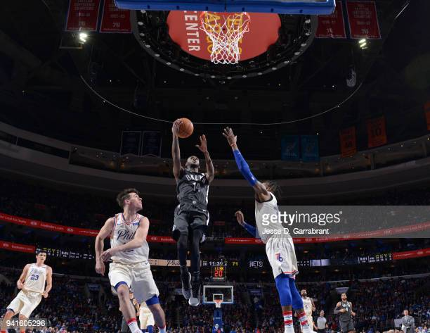 Milton Doyle of the Brooklyn Nets puts up the shot against the Philadelphia 76ers at Wells Fargo Center on April 3 2018 in Philadelphia Pennsylvania...
