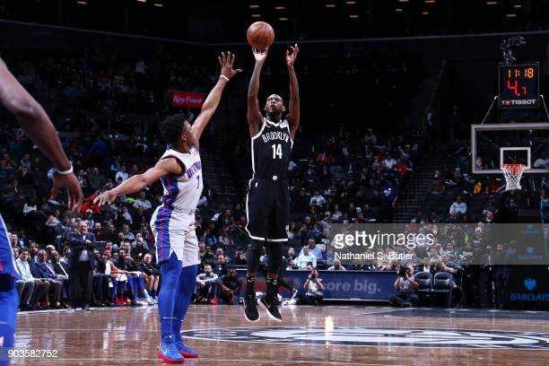 Milton Doyle of the Brooklyn Nets shoots the ball against the Detroit Pistons on January 10 2018 at Barclays Center in Brooklyn New York NOTE TO USER...