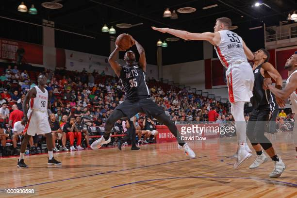 Milton Doyle of the Brooklyn Nets shoots the ball against the Houston Rockets during the 2018 Las Vegas Summer League on July 11 2018 at the Cox...