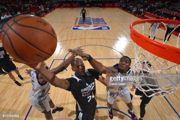 Milton Doyle of the Brooklyn Nets shoots the ball against the New Orleans Pelicans during the 2017 Las Vegas Summer League on July 10 2017 at the Cox...