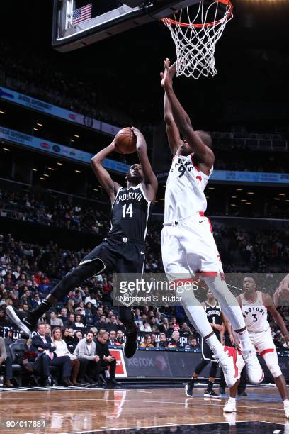 Milton Doyle of the Brooklyn Nets shoots the ball during the game against the Toronto Raptors on January 8 2018 at Barclays Center in Brooklyn New...