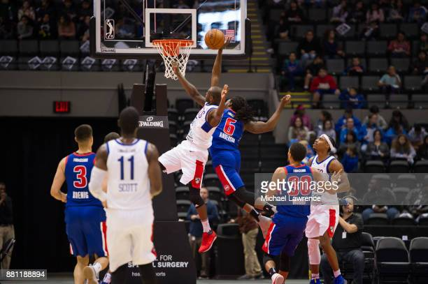 Milton Doyle of the Long Island Nets drives to the basket during an NBA GLeague game against the Grand Rapid Drive on November 28 2017 at Nassau...