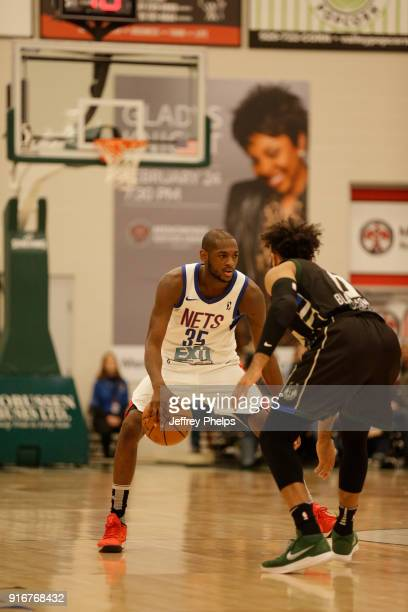 Milton Doyle of the Long Island Nets handles the ball against the Wisconsin Herd during the NBA GLeague on February 10 2018 at the Menominee Nation...
