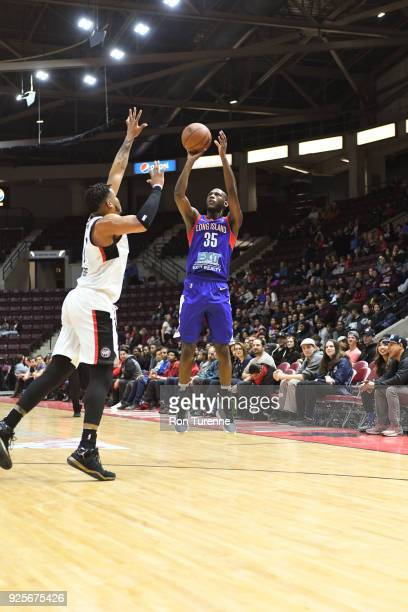 Milton Doyle of the Long Island Nets shoots the ball against the Raptors 905 on February 28 2018 at the Hershey Centre in Mississauga Ontario Canada...