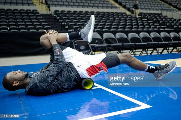 Milton Doyle of the Long Island Nets stretches prior to the game against the Windy City Bulls during an NBA GLeague game on March 2 2018 at NYCB Live...