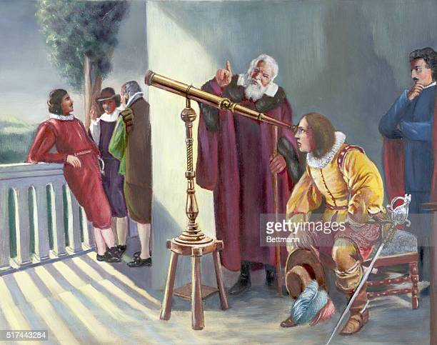 Milton in the observatory of Galileo looking through a telescope. Painter unknow, undated photograph.