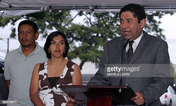 Milton Jimenez Silvia Ayala and Salvador Zuniga members of the delegation representing ousted Honduran President Manuel Zelaya speak to the press...