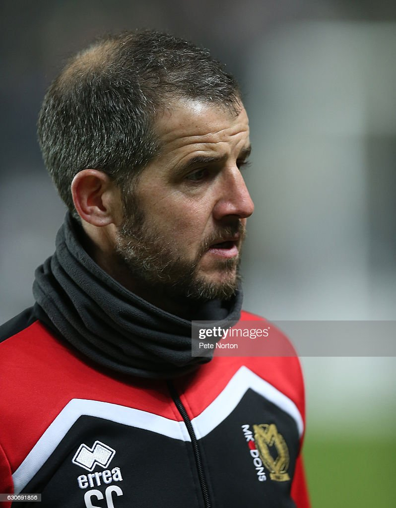 Milton Keynes Dons assistant manager Stevie Crawford looks on prior to the Sky Bet League One match between Milton Keynes Dons and Swindon Town at StadiumMK on December 30, 2016 in Milton Keynes, England.