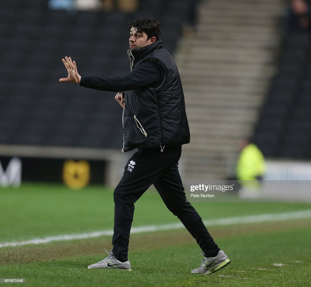 Milton Keynes Dons manager Dan Micciche during the Sky Bet League One match between Milton Keynes Dons and Rotherham United at StadiumMK on March 13, 2018 in Milton Keynes, England.
