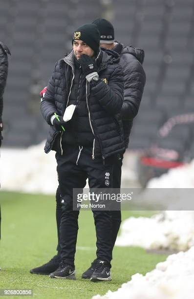 Milton Keynes Dons manager Dan Micciche looks on during the Sky Bet League One match between Milton Keynes Dons and Bristol Rovers at StadiumMK on...