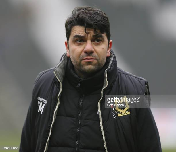 Milton Keynes Dons manager Dan Micciche looks on prior to the Sky Bet League One match between Milton Keynes Dons and Bristol Rovers at StadiumMK on...