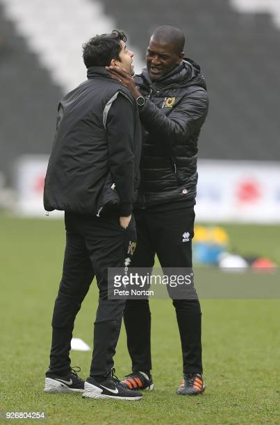Milton Keynes Dons manager Dan Micciche with Head of Academy coaching Steve Brown prior to the Sky Bet League One match between Milton Keynes Dons...