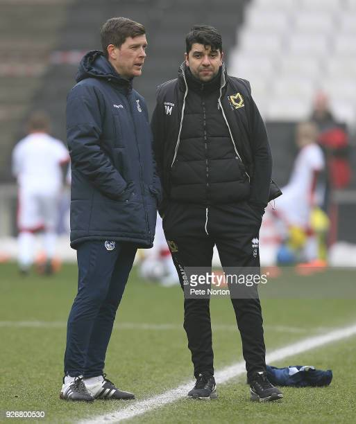 Milton Keynes Dons manager Dan Micciche with his counterpart Darrell Clarke of Bristol Rovers prior to the Sky Bet League One match between Milton...